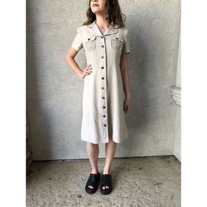 VINTAGE | 100% linen shirtwaist dress